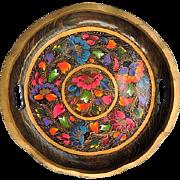 "Vintage Mexican Folk Art Batea Floral Tole Wood Tray 13"""