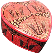 Signed Numbered Kashmir Heart-Shaped Lacquer Paper Mache Trinket Box