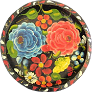 Mexican Folk Art Batea Wood Tray Floral Design 10.75""
