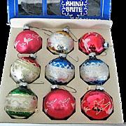 9 Vintage Shiny Brite Glass Christmas Tree Ornaments in Original Box