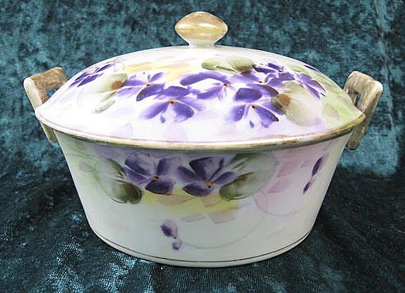 Hand-painted E-OH Nippon Porcelain Covered Dish Floral Violet Design