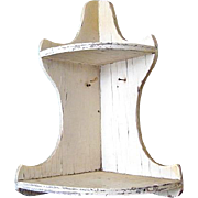 Shabby Chic Salvage White Wooden Corner Shelf