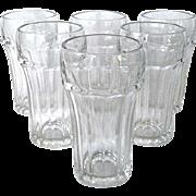 Six Sturdy Vintage Hazel Atlas Soda Glasses