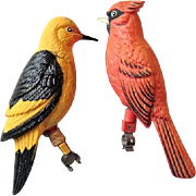 2 Vintage Plastic Cardinal & Oriole Birds w. Brackets to Sit on Branch / Perch