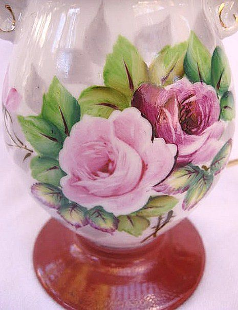 Occupied Japan Porcelain Floral Pattern Lamp