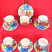 Six Vintage Oaxaca Mexico Dripware Pottery Cups & Saucers Circa 1930s