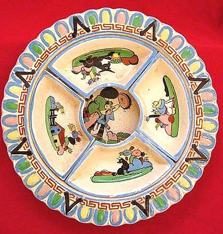 Tlaquepaque Mexico Aldana Pottery Chip and Dip Set circa 1930
