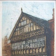 William Monk Colored Etching of The Bear and Billet Inn Chester England 1892