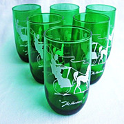 "Six Anchor Hocking Green Gay Nineties 5"" Glasses ""The Hansom"""