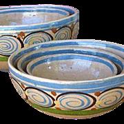 Five Tlaquepaque Mexico Pottery Nesting Bowls