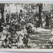 1930s RPPC Real Photo Postcard Thousands of Dr. Locke's Patients Waiting Daily