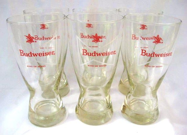 Six Vintage Libbey Budweiser Pint Glasses Hour Glass Shape Tapered Beer Glasses Breweriana