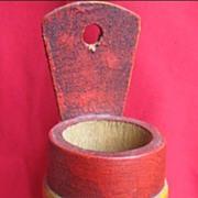 Vintage Wooden Floral Toleware Folk Art Match Holder