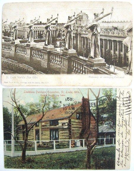 2 St. Louis World's Fair 1904 Postcards Undivided Backs Louisiana Purchase Exposition