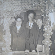 Three Men at Wishing Well Real Photo Postcard RPPC c. 1900