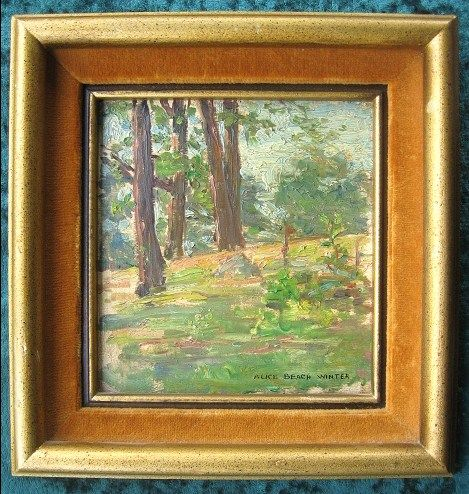 Original Impressionist Alice Beach Winter Oil Painting Forest Landscape