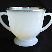 Anchor Hocking Fire-King White Golden Shell Sugar Bowl 22k Gold Trim