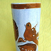 Vintage Brown Bird Tonala Pottery Glass / Vase from Mexico Signed H.L.
