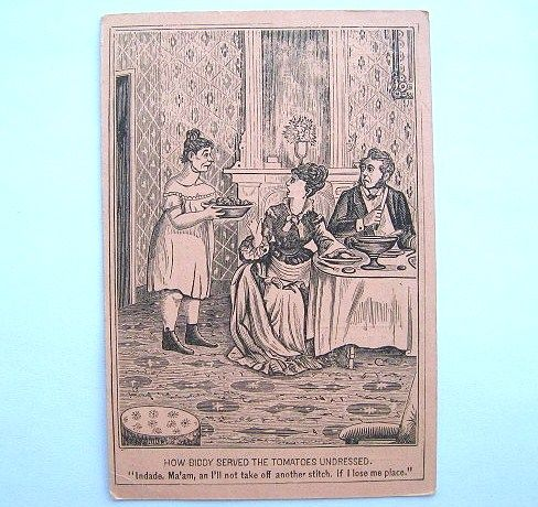 Risque Comic Biddy Victorian Trade Card Great Atlantic & Pacific Tea Co. 1880s