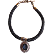 Victorian Fob Hair Watch Chain with Intaglio Charm