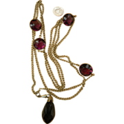 Victorian Muff Chain sautoir with Large stones