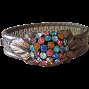 Unusual Rhinestone and Brass Vintage Bangle Bracelet