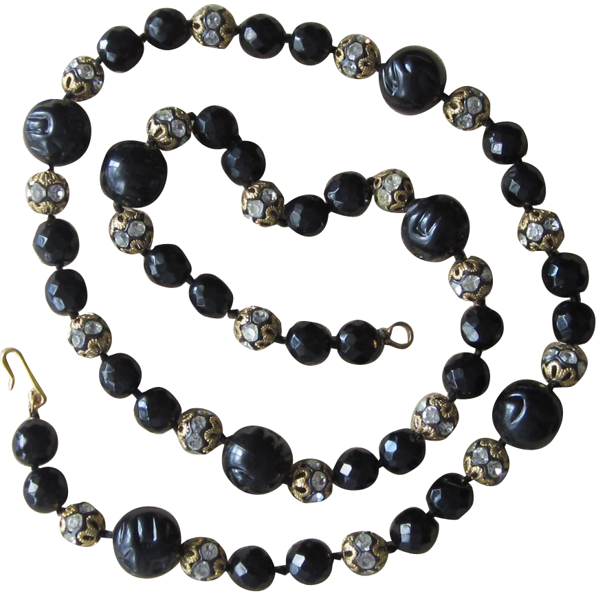 33inch Glass and Rondel  Hand Knotted Vintage Necklace