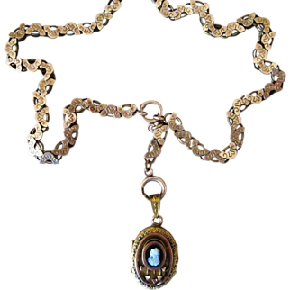 Ornate Victorian Book Chain Necklace with Unusual Locket