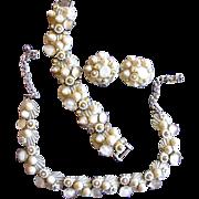 Signed ART Seashell Necklace, Bracelet and Earring Set