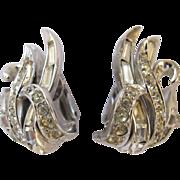 Boucher Clear Rhinestone Silver Tone Clip Earrings