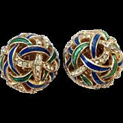 Ciner Blue Green Enamel Dome Earrings