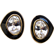 Dior Clear Crystal and Black Enamel Clip Earrings