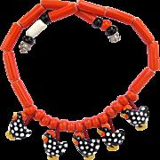 Vintage Flying Colors Ceramic Black Speckled Chicken Necklace