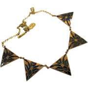 Vintage Pididdly Links Triangle Charm Choker Necklace