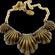 Vintage Pididdly Links Brassy Shells Choker Necklace
