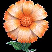 Hedy Orange Enamel Flower Pin