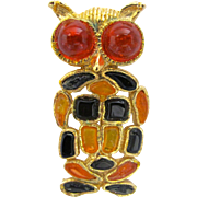 Hobe Poured Glass Mosaic Owl Brooch
