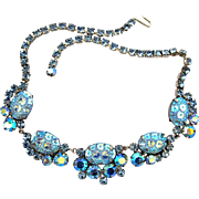 Dazzling Vintage Delizza and Elster (AKA: D & E, Juliana) Silver Blue Art Glass Necklace - Book Piece