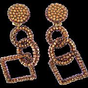 Richard Kerr Bronze Rhinestone Dangle Earrings