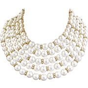 Marvella 5 Strand White Faux Pearl Necklace and Bracelet Set