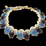 Lucite Blue Leaf Necklace