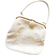 White Seed Bead Purse by Bag By Debbie
