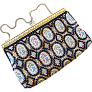 Vintage Embroidered Flower and Black Beaded Purse