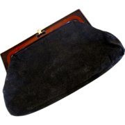 Black Suede Clutch Made in Italy
