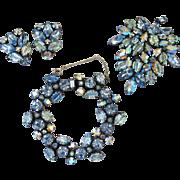 Regency Blue Art Glass Parure - Bracelet, Brooch and Clip Earrings