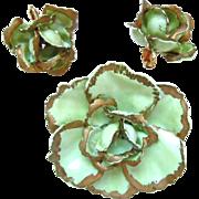 Vintage SANDOR Green Enamel Flower Brooch with Earrings