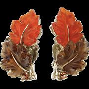 Lisner Lucite Oak Leaf Earrings in Orange and Brown