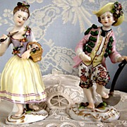 Pair Beautiful Petite Porcelain Dresden or German Figurines