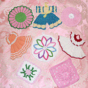 Lot # 2   8 Vintage Crochet Lace Roses Dresses Pot Holders