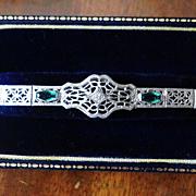 14 Karat White Gold Art Deco Filigree Lace Bracelet